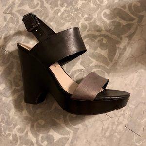 Franco Sarto Black & Pewter Wedge Heel